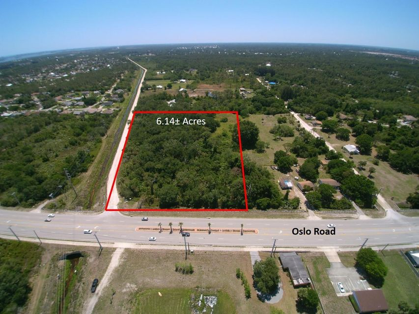6.14 acres of prime commercial land, with tons of potential to build up to 100,000sf of commercial space, including but not limited to, Retail and Office use with a max height of 35 feet.  Under the same zoning, a potential to build out 48-units of multi-family space (based upon an RM-8 designation), or a 220 unit Hotel/Motel.   The site is situated just 7 miles from the Oslo and I-95 Interchange.  The property has no debt at the present time and there are currently no improvements. The property fronts 380 feet +/- on Oslo Road (9th St SW) and is 605 feet +/- deep. There are no known environmental sensitive issues with the real estate or any surrounding it. All utilities are available to the property. Although water and sewer may be stubbed out only within the general area from the property. Police and fire services are provided by the Indian River County Sheriff's and Fire Departments. Neighboring retail centers include Publix (2), Winn Dixie, CVS Pharmacy and Walgreens Drug Stores.  The property is located less than 1 mile west of US Highway 1 on Oslo Road (9th Street SW) at the intersection of proposed 7th Road SW in unincorporated Indian River County. However, it carries a Vero Beach address and zip code. It is accessible from I-95 to the north at the State Road 60 (Vero Beach) interchange and to the south at the Indrio Road (State Road 614) interchange. The Florida Turnpike is accessible to the north at the State Road 60 (Yeehaw Junction) interchange and to the south at the State Road 70 (Ft. Pierce) interchange via US1 and King's Highway.