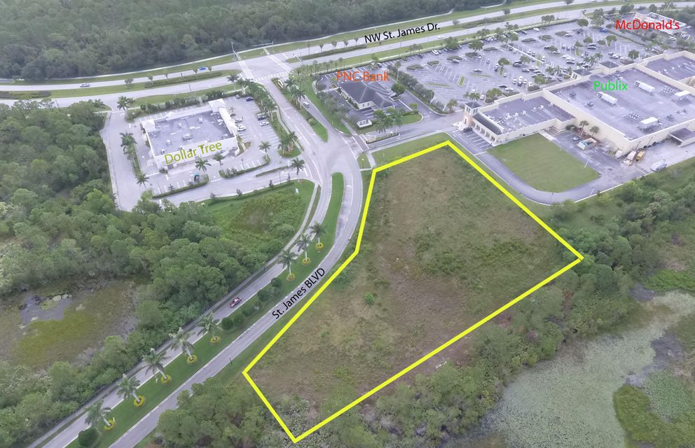 3.46 ACRES OF VACANT COMMERICAL LAND. Prime Location to Build Your Commercial Building/Plaza. Professional, Retail, Hospitality or Restaurant. Site Offers Consistent Traffic via St James Blvd located at the Entrance of the St James Publix Plaza. Located Near 3 Prominent Gated Communities. See Documents for Planned/Approved Usages for Land Per the City. Excluded Usages Include Nursing & Convalescent Homes, Automobile Repair and Sales.