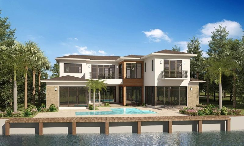 Contemporary waterfront new construction on 115' of wide canal waterway