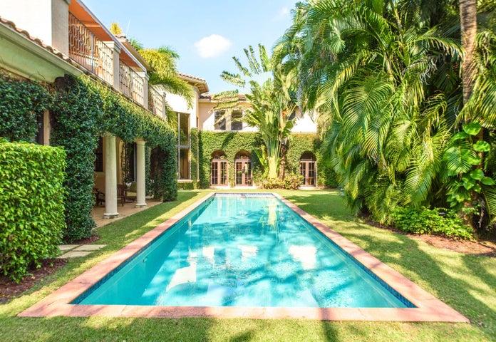 Backyard with lap pool