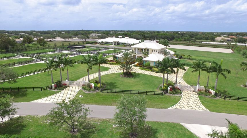 Front Elevation of the 10 acre Equestrian Estate.
