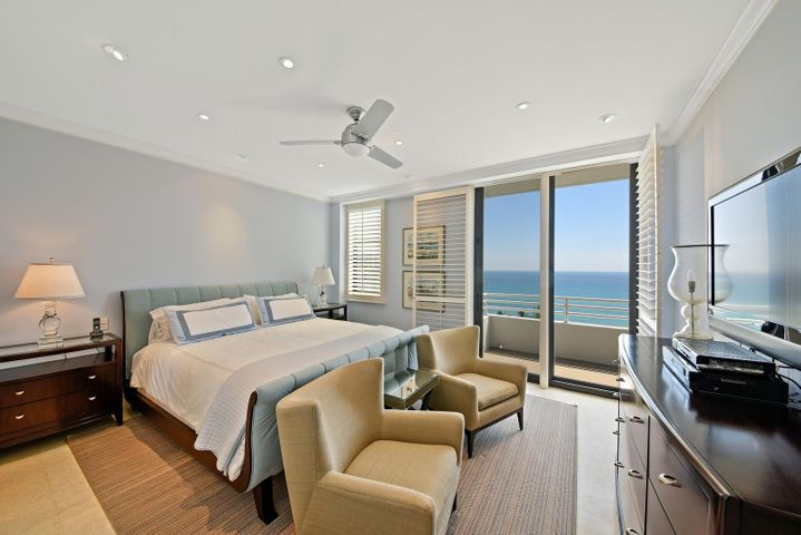 Stunning Ocean View from Spacious Master Suite with Seating Area.Large Balcony. Very quiet & private. Impact Glass Throughout
