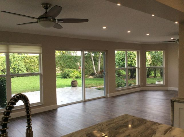 View of family room and yard