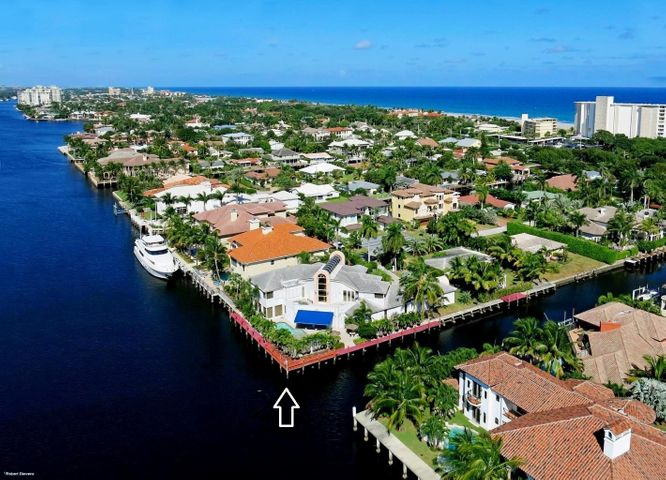Extremely Rare Point Lot located on the Intracoastal in Delray Beach Shores. This Unique find has over 240 feet of dockage, idea for docking multiple watercraft. A Gorgeous Contemporary 5 bedrooms 6 1/2 bathrooms home with a Grand Entrance, 3 Car Garage, Large Freeform Pool, a Spa and outside entertainment area. This Home needs some TLC and updating to make this your dream home. Located just minutes from Atlantic Avenue and one block from the Atlantic Ocean. This information is subject to errors, omissions and changes without notice. All sizes are approximated and should be verified.