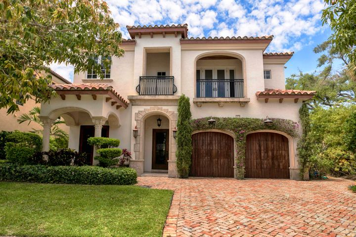 A Custom Built Timeless Classic Mediterranean in exclusive Por La Mar. Short walk to beach and downtown restaurants/shops.  Home has an open layout with 12 ft. ceilings, pecky cypress dining room, mahogany office/library, a large custom cherry kitchen with two Sub-Zero refrigerator/freezers, two ovens, Wolf gas range and walk-in pantry. All bedrooms have a custom built closet & bath, french doors and private balcony. Gorgeous 1200 ft. master has hand scraped wood floors, huge custom closet and breakfast bar.  Master bath is all marble with dual vanities, jacuzzi tub, double sided walk in shower, steam shower and water closet.   Pool, hot tub and outdoor BBQ are all natural gas heated.  Custom built and designed by owner with steel beams and 4 inch concrete slab on 2nd floor.   Must See!!