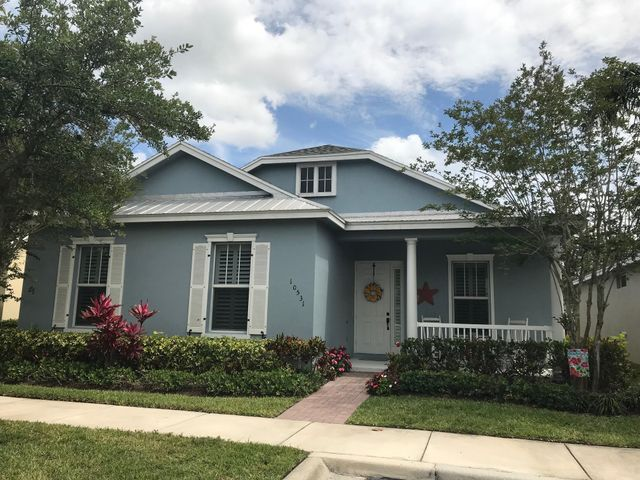 Coastal Cottage in Bedford Park at Tradition.  3 bedroom 2 bath 2 car garage with inviting welcome porch plus covered back patio, breezeway to garage and large back yard. Homeowners dues include: Complete lawn maintenance, property irrigation, monitoring of security system, telephone land line, high speed internet, basic cable plus HBO, community pool, community room, dog park, butterfly park and much more.Close to park, playground, school, publix, restaurants, shopping and banks.