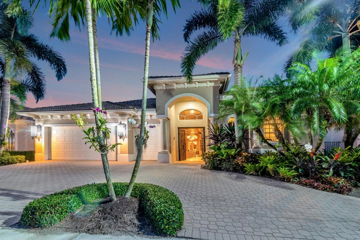 You deserve the best - You deserve Mizner Country Club, A Golfers Dream come true! Enjoy a signature lifestyle of leisure and luxury. Comfortably nestled next to the brand new 18 hole private golf course, is this gorgeous, well maintained, almost 5,000 sq. ft, one story 4 bedroom + a home office, 3 1/2 bath court yard home, waiting for the right buyer. Built by the Toll Brothers who pride themselves with combining quality materials with superior design, and attention to detail. The grand entryway draws you into a voluminous layout made for entertaining, where foyer opens onto formal living room with elegant coffered ceilings & archways, formal dining room, wet bar, and a spacious living room area with massive windows bringing in natural light throughout the entire home. The 4th ... The 4th bedroom, a beautiful and very private Mother in Law suite - separate building, full cabana bath with large kitchen-counter-top + refrigerator etc. This professionally landscaped garden, and golf view home feeds your soul while the 12+ high ceilings let your spirit soar! Split floor plan, with beautiful marble flooring in living & dining area. Crown molding, surround sound with speakers built in throughout the home. Exclusive lot, very private and peaceful with stunning views over the rolling fairways. Tremendous gourmet kitchen with granite counter tops, complete backsplash, wood cabinetry, huge bar, center island, butler's pantry, pull-out drawers, all built-in high end appliances and lots of extra storage. The divine master suite presents elegant coffered ceilings, custom wood flooring, Hunter Douglas custom window blinds. You can relax in the master bathroom spa styled whirlpool or recharge in its separate glass shower, dual sinks, large walk- in closet (his & hers) Second & Third bedroom overlooking courtyard, easy pool & patio access with sliding glass doors. Private guest house, with full cabana bath, walk in closet, and french doors leading out to gorgeous white marble pool