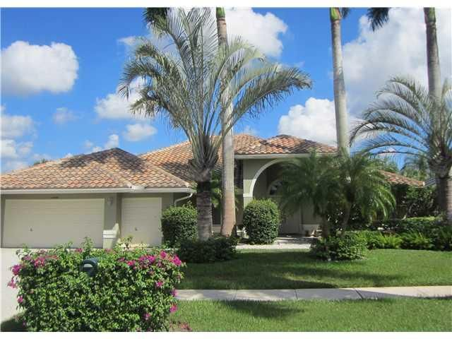 Highly desireable and rarely available Pebble Beach model with 3 bedrooms, 3 baths plus large den/office with french doors.  Beautiful upgraded kitchen and resort style pool area with waterfall pool and separate spa pool overlooking the golf course.  Boca Greens offers fantastic golf with no membership fees required.  Large 2 car garaage plus golf cart garage.  Priced to sell.
