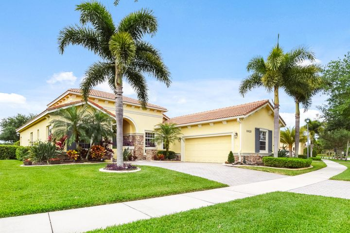 Looking for a more healthy, happy and social lifestyle property in South Florida?  PGA Village Verano's Community is a private gated golf and resort-style community in Saint Lucie County.  Built by Kolter Homes in 2007, this elegant 3/4 plus Den home is perfectly situated on a premium lakefront lot.  Enter through double doors and the lake views will take your breath away. Architectural features delight, and transom windows assure a naturally light and bright home.  The gourmet kitchen is fitted with fabulous granite counters, a walk-in pantry, breakfast bar and SS appliances. This home was built for entertaining, and the sellers utilize the Den as the 4th bedroom for family and guests visiting. Lovingly maintained and lightly lived in, you'll find the home to be efficient and spacious.  Imagine returning to this beautiful home after a day packed with resort activities, laughter and friendship, then heading straight to your expanded stone paver patio with a book and a drink to soak up the last bit of sun as it sets over the lake. You deserve to start living the life you love at PGA Village Verano.  PGA Village Verano provides access to all of the activities you love and gives you the opportunity to discover a new favorite. Play a round of golf on one of PGA Village Golf's 3 award-winning courses or soak up the sun on one of the nearby famous Treasure Coast beaches. Club Talavera offers many different activities from fully equipped fitness center to yoga classes to tennis courts to indoor Junior Olympic Size Lap Pool. The Social Clubhouse at Club Talavera includes a billiards room, card room, art studio, library, lifelong learning center, lounge, banquet hall, and more.
