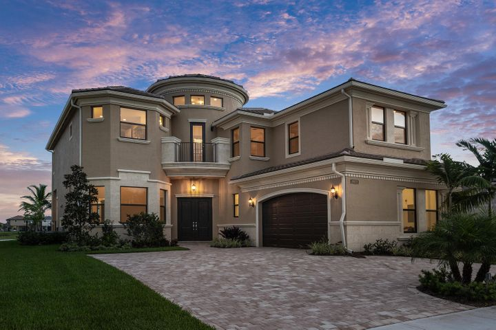 BRAND NEW CONSTRUCTION - OPEN, DRAMATIC AND FLOWING DESCRIBES THE SYDENEY FLOORPLAN. This great home has more than $400k in upgrades. The premium lot offers astonishing long lake views. Upon entering the home, you are greeted with white marble floors and the impressive two-story foyer. The circular light wood staircase is a focal point of curved elegance. The open and bright family room leads to the kitchen and eat-in dining area. These rooms are positioned towards the awesome lake views, through double height impact resistant windows and sliding doors. The chef's kitchen features white granite countertops and custom black wood cabinetry. All appliances are stainless steel including the Sub-Zero refrigerator and the 5-burner gas range. The main level continues with a large formal dining room, office, and en-suite bedroom perfect for guests. Upstairs, the split floor plan allows for maximum privacy between the two en-suite secondary bedrooms and master suite. The loft area is a second living space perfect for children to play and enjoy television separate from the family room. The master suite has a breathtaking view of the lake, is spacious and offers two walk-in closets. The master bath is appointed with a roman tub, separate glass-enclosed shower, bidet, dual sinks and white granite countertops. Outside, a heated saltwater pool with attached waterfall and spa frames the expansive lake view. A summer kitchen with a large covered patio area makes indoor/outdoor living flow seamlessly. Additional features include an upgraded paver driveway, an electric car outlet in garage, centralized sound system, security system, and wet bar.