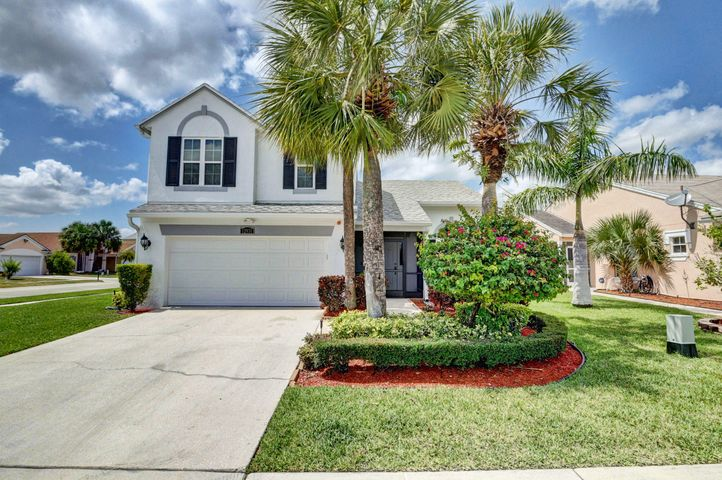 West Boca 2 Story pool home on corner lot of cul-de-sac in Boca Winds. 4 Bedroom with 2 & 1/2 Baths. Fully updated throughout. New roof in 2005, new patio/pool screen enclosure (2013),  A/C replaced 2013, Impact Windows , Doors  & Garage Door all new 2013, Redesigned & beautiful new modern kitchen 2019.New Travertine Tiled Patio & Pool Resurfaced & Salt Water Chlorinator*Home is a 4 bedroom floor plan with 3 bedrooms upstairs & master down, currently home will show 2nd & 3rd bedroom combined for a 2nd master up (easily converted back & seller willing to do). Low Monthly HOA! Such a great  feel good home! Top Rated Boca Schools