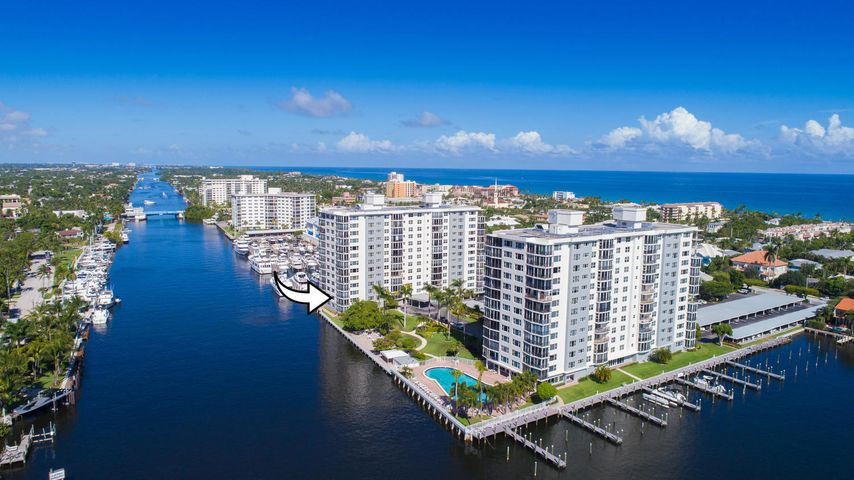 Water views from every room! Spectacular SW direct Intracoastal corner unit with over 1760 sq/ft under A/C. Located in East Delray's most desirable 55+ condominium communities of Seagate Towers. Open kitchen featuring KitchenAid appliances an abundance of cabinet space and Corian countertops. Grand Master Suite with walk-in and custom closet system, Corian counter-topped vanity in Master bath plus spacious dressing area. Stackable washer/dryer within unit, extra storage and pantry. Impact windows and sliders throughout including exterior balcony. New A/C 2018 and water heater 2016. Seagate Tower's is a Luxury 55+ community with FREE Boat Slips up to 55 ft, heated pool with lap lanes, fitness room, bike storage and covered parking spaces. Major concrete restoration and exterior painting recently completed along with seawall. Lobbies in both towers and Coastal Room renovation beginning end of June.