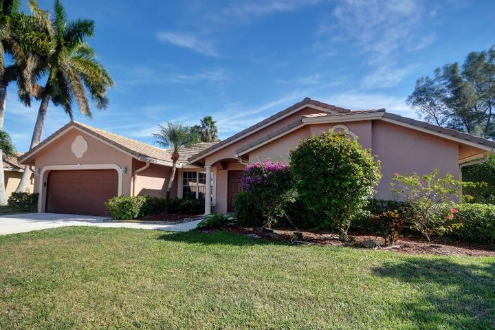 Unique split and open floor plan, overlooking golf course.  This home is a great value in the newer section of Boca Greens.  No mandatory membership, just pay and play golf.  Low HOA fee includes cable tv with HBO and Showtime.  Also includes high speed internet.  Fiber to every home.