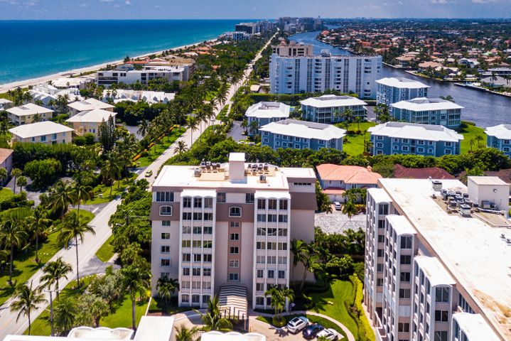 Enjoy living in the highly desirable Delray Beach Club Apartments steps to the ocean.  Located in trendy Delray Beach.  This 24-hour gated, and secured Intracoastal community is located on South Ocean Boulevard with private parking. The inviting bright open ''loft style'' floor plan gives a very spacious feel to this 2,165 square foot residence. The large heated swimming pool overlooks the Intracoastal and is tucked within lush manicured grounds.  This 3 bedroom 2 bath condo has been totally remodeled and offers private elevator foyer serving only 2 condos per floor, showroom model quality finishes such as large picturesque hurricane windows with fantastic ocean views, French doors, induction cook top, water filtration system, top of the line appliances such as Thermador refrigerator, new dishwasher and AC with ultraviolent filter, wood plank floors and crown molding.    Join the Delray Beach Club across the street which offers two tennis courts, restaurant dining, beach chairs, social activities, an additional pool, and white sandy beaches.