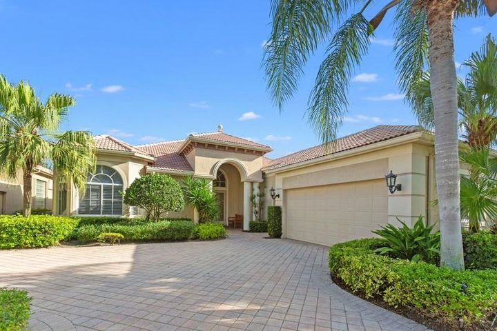 Beautiful light-filled 4 bedroom, 4 1/2 bath home with golf course views in the upscale community of Vintage Isles - BallenIsles, in Palm Beach Gardens. Exceptionally spacious and graceful great room with elegant, multi-trayed ceiling and 4 large-sized bedrooms, one of which is currently used as an office. Other amenities include his & hers master bathrooms, granite counters, tall cabinets, a natural gas cooktop, plantation shutters, central vac, 8 ft solid wood doors, a beautifully-shaped heated pool with a triple waterfall fountain, a large separate garden and/or doggie area, and an expanded 2 1/2 car garage.Tenant pays POA application, club transfer fee and exit cleaning fee.