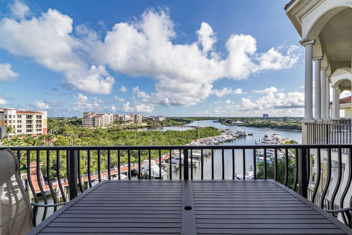 Stunning corner Penthouse in The Pointe at Jupiter Yacht Club. The south view of the Intracoastal will take your breath away. This magnificent Penthouse is over 2600 square feet with 3 bedrooms and 3.5 baths. Enjoy gorgeous sunsets from the oversized massive terrace. A 45 foot boat slip directly below the unit is also available for sale.  Amazing lifestyle goes with this location. Just steps away from some of the finest dining and nightlife in Jupiter.  Countertops are Quartz with matte finish.  Final assessment will be due = $4479 Q2 of 2020.