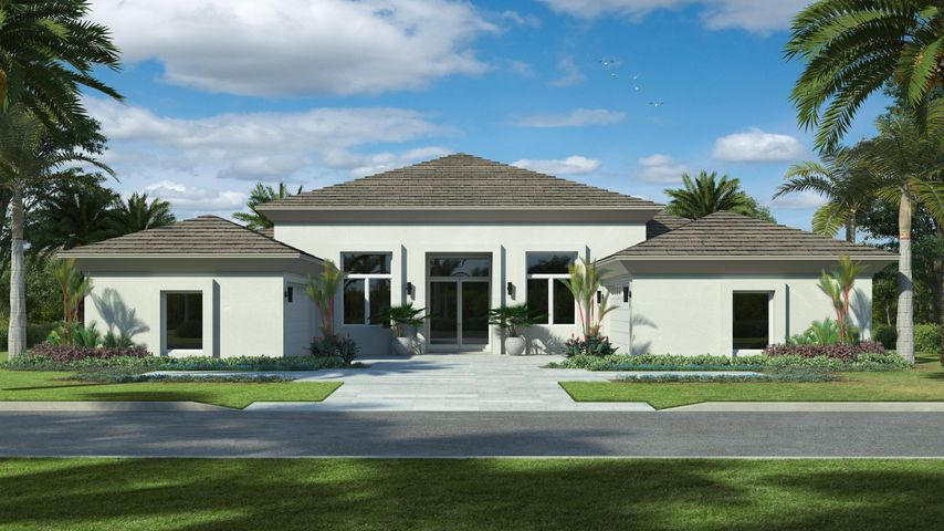 New construction by Mustapick custom home builders to be completed October  2020. Ideal location within walking distance to the Clubhouse. Expansive golf views from all entertaining areas of this contemporary floor plan. 4 bedrooms plus club room, 4 car garage, island gourmet kitchen with Wolf gas range, Sub Zero fridge, fireplace, volume ceilings, impact windows, porcelain floors, large master suite with his and her walk-in closets, his and her toilets, and freestanding tub. Entertain with fairway views from your fabulous loggia, summer kitchen, pool and spa.