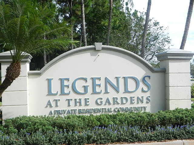 Rented through April 15, 2020. Available April 16, 2020 as an Off Season Furnished Rental.  Beautifully furnished and pristine second floor corner unit with views of the lake from the balcony.  Unit offers two bedroom plus a den, two baths and a one car garage.  Legends at the Gardens is centrally located within walking distance to shopping and restaurants plus it is only a short drive to public golf courses and the beach.