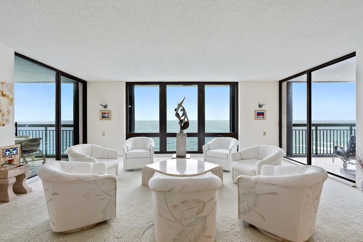 Amazing Direct Ocean Views unobstructed from the 23rd floor of this sought after building on the private end of Singer Island. This twenty third floor three bedroom three and a half bath condo offers over 2600 square feet of air conditioned living area plus three separate eight foot wide terraces. When you open the front door you see OCEAN through the floor to ceiling picture windows as far as you can see. There is a terrace on the NE corner and one on the SE corner and a private terrace off the master suite. Includes under building assigned garage parking plus 30 guest spots in the garage for second cars. There is a large extra storage unit right outside the front door big enough for second refrigerator and much more. If your client wants Direct Ocean Views, it doesn't get any better. Amenities: Private heated pool and spa, three tennis courts, state-of-the-art fitness center with his/hers steam rooms. Beautiful Ocean lounge, cozy billiards room, twenty-four-hour manned guard gate, concierge with site resident manager. The lushly landscaped grounds and gardens lead down to the white sandy private beach, these are but a few of the exquisite amenities offered at Eastpointe II. Garage parking.