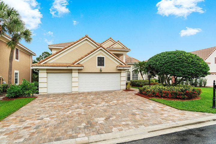 Gorgeous spacious home in the heart of Palm Beach Gardens in private gated community of the Sanctuary!  Plantation shutters and cathedral ceilings with crown molding, carpet and tile flooring. 1st floor master w/huge walk-in closet, large walk in shower, and  soaking tub. Kitchen has granite counters, double oven, gas cooktop with eat-in dining area and large family room. Upstairs has an oversized family rec room, 3 bedroom and 2 bath (1 bedroom is second master).   Huge screened patio with heated pool/spa/outside shower and full cabana bath. New pavers/landscaping private fenced in yard. Impact windows to be installed by 1/24/19. Exterior to be painted. New roof/hot water heater. 3 A/C's and whole house generator. Prem cable/Hi-speed internet included. Lawn/pool/gen maintenance included.