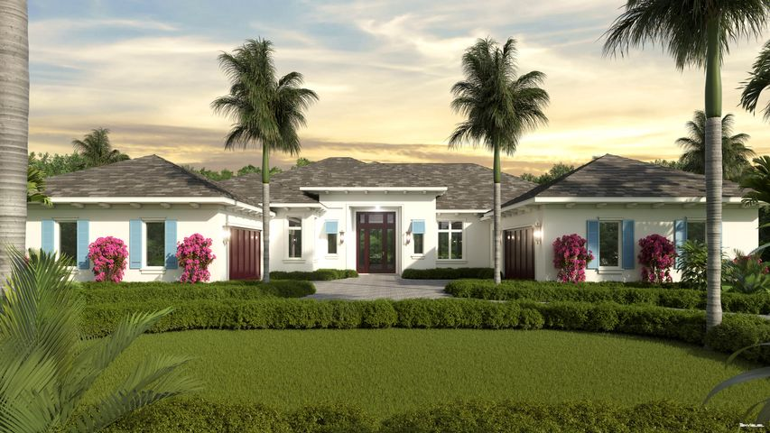 "One of the most beautiful new construction homes in Admirals Cove, this one-story masterpiece is being built by Delcrest Homes, a third generation South Florida builder in business since 1956. Delcrest has built outstanding custom homes in communities like Weston, Breakers West, Valencia at Abacoa, Harbor Isles and Ibis.  Admirals Cove is excited about this great builder bringing their talents to the community.  This concrete block home features impact windows and doors, flat cement tile roof, heated pool and spa, wonderful outdoor living, circular driveway and tranquil views of the east golf course.  We are expecting occupancy in December of 2020.  Click on the ''More'' button to learn more about the included features. Interior Features  ""	60"" paneled side-by-side Sub Zero refrigerator and freezer ""	36"" 6-Burner Wolf gas range ""	Wolf ""in cabinet"" double oven ""	Quartz countertops with 3"" miter on center island ""	Sub Zero 24"" wine cooler, wet bar with ice maker ""	Custom wood shaker cabinets with ample storage for platters and large countertop appliances ""	Wide plank porcelain wood flooring in main living areas with rectified edge ""	Master suite bath features marble flooring, solid wood vanities and marble vanity tops ""	Secondary baths feature Kohler plumbing fixtures, solid wood vanities and quartz vanity tops  Exterior Features ""	Concrete block construction ""	Impact windows and doors ""	Flat cement tile roof ""	R-30 attic insulation ""	Large circular driveway ""	½ acre lot with large yard spaces ""	Summer kitchen with gas grille and stubbed for refrigeration and sink ""	Generous allowance for closet systems ""	Epoxy garage floors ""	Tankless water heater with recirculation pump ""	Saline pool system with Jandy controls ""	Gas pool heater ""	Generator ready ""	Backyard stubbed for gas fire pit"