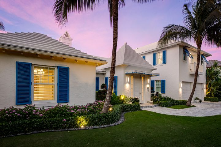 Built in 2015, this 4,808 square foot Bermuda-style home offers beautiful modern finishes throughout. The spacious living room is adorned with white Venetian plaster walls, a vaulted ceiling, and retractable doors that open to the large covered loggia. The kitchen is equipped with Miele appliances, a Sub Zero refrigerator and freezer, a large center island, a gas range, a walk-in pantry, and has a dining/family room area with doors to the outdoor loggia. A library, powder room, guest suite, and laundry room complete the first floor. Upstairs is the master suite with an en-suite bath and walk-in closet, built-in shelving, private outdoor terrace with retractable awning, as well as an additional luxurious walk-in closet with bath that could be turned back into the third bedroom. Other property features include: Savant lighting system, Sonos speakers, reverse osmosis water treatment for home and pool, full hurricane impact doors and windows, generator, air-conditioned 2-car garage, automatic screens in the loggia, automatic hurricane shutters for part of the loggia for easy outdoor furniture storage, outdoor shower off of the downstairs guest bedroom, and Cabana/beach access at the end of the street.