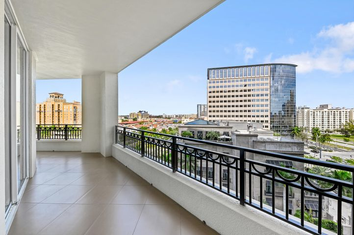Expansive Terrace, impact glass and view to Restoration Hardware roof top.