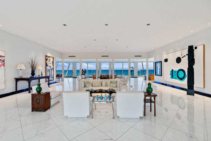 "Mid-Century Modern Direct Oceanfront is an Art Collectors Dream! Spectacular broad views set the perfect backdrop for art collections on tall, wide walls.  The residence perches elegantly on a nicely elevated 34,387+/-SF oceanfront parcel with 119+/- ocean frontage.  The home flows perfectly for indoor & outdoor living and entertaining. Two fabulous masters on the 2nd level.  6 Bedrooms total including 2 staff rooms off the service hall.  4-Car stacked garage.  Not another like it in Palm Beach! DISCLAIMER: The written and verbal information provided including but not limited to prices, measurements, square footages, lot sizes, calculations and statistics have been obtained and conveyed from third parties such as the applicable Multiple Listing Service, public records as well as other sources. All information including that produced by the Sellers or Listing Company are subject to errors, omissions or changes without notice and should be independently verified by any prospect for the purchase of a Property.  The Sellers and Listing Company expressly disclaim any warranty or representation regarding all information.  Prospective purchasers' use of this or any written and verbal information is acknowledgement of this disclaimer and that Prospects shall perform their own due diligence.  Prospective purchasers shall not rely on any written or verbal information provided when entering a contract for sale and purchase.  Some affiliations may not be applicable to certain geographic areas. If your property is currently listed with another agent, please do not consider this a solicitation for the listing. In the event a Buyer defaults, no commission will be paid to either Broker on the Deposits retained by the Seller.  ""No Commissions Paid until Title Passes.""  Copyright 2020 Listing Company. All Rights Reserved."