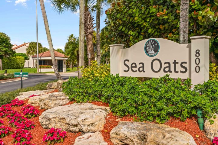 ONE-OF-A-KIND: this spacious, well-appointed, coastal 3 bedroom condo is the largest floor plans in Sea Oats and... is an upstairs, end unit! This property features stunning renovations: tile floors throughout the entire unit, vaulted cathedral ceilings, high hats, granite countertops, AC 2017, new modern lighting, new plumbing fixtures, plantation shutters,  louvered closet doors, in-unit washer/dryer, accordion hurricane shutters, chrome finishes and attached 1 car garage. Own this unit as your new beach home or a perfect secondary/investment home and rent out for top dollar during season! Perfect location, just minutes to the Juno Pier/Jupiter beach, Intracoastal Waterway, and local bars/shops. Community amenities feature a pool, tennis court, clubhouse, and on-site management. 1 pet allowed under 30 lbs.