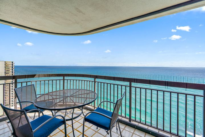 Amazing Panoramic Double views of the Ocean, Beach, Intracoastal Waterway and MacArthur State Park from this 24th floor condo in Eastpointe II. Day or night the views are incredible from this 3 bedroom 3 and half bath condominium with 2700 square feet of air conditioned living area plus over 700 square feet of wrap around terraces. The residence is immaculate and offers a split bedroom floor plan with the master bedroom overlooking the beautiful Atlantic. Marble flooring, granite kitchen counter tops and stainless steel appliance package are just a few of the many features in the fabulous residence. Being sold partially furnished and with underground garage parking. Amenities: Private heated pool and spa, three tennis courts, state-of-the-art fitness center with his/hers steam rooms. Beautiful Ocean lounge, cozy billiards room, twenty-four-hour manned guard gate, concierge with site resident manager. The lushly landscaped grounds and gardens lead down to the white sandy private beach, these are but a few of the exquisite amenities offered at Eastpointe II. Garage parking.