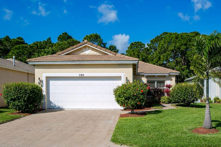 Low HOA fees take care of your yard, cable, fitness Ctr, Pools/Jacuzzi, playground, clubhouse, on site management in this great gated community. Newer A/C (2018), newer stainless steel kitchen appliances, new carpet - all make this a clean and ready-to-move-in home. Peaceful Preserve view, open & airy plan with lots of light. Pavered drive and walkways, tile roof. Lovely landscaping. Located in the heart of St. Lucie West with quick access to shopping, highways, hospital, golf. If you're ready for easy living, this one's for you. Owner/Agent.