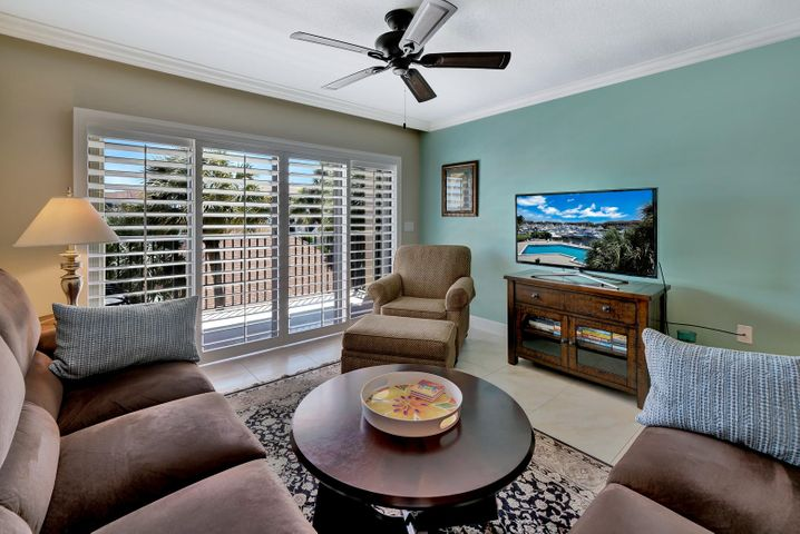 Living Room with sliders out to balcony
