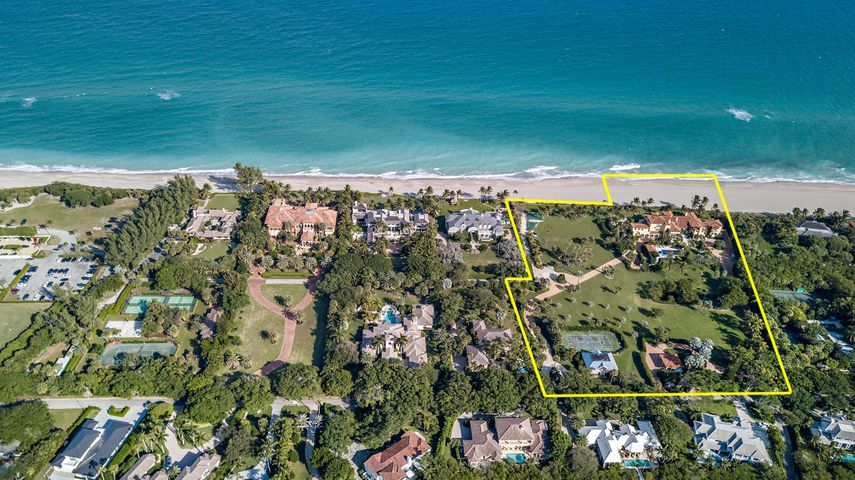 Once in a generation opportunity to own the third largest oceanfront compound in all of Palm Beach County.  An unmatched direct oceanfront compound situated on 7.35 acres with over 520 feet of ocean frontage in the ultra-exclusive neighborhood of Seminole Landing. If a buyer is looking for security, this is the place.  Seminole is a gated community with 24 hour security and a manned security gate.  The estate is gated itself as well.  This Tuscan estate has been masterfully created to capture panoramic ocean views. Large private pool terrace perfect for entertaining. Dedicated theater, expansive wine room, chef's kitchen, tennis court, and VIP guest suite. One of only a handful of properties in Florida where someone could land and take off in a helicopter from the estate.