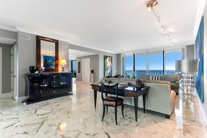 Live the Palm Beach dream with direct wrap around ocean views from every room. This is a rare opportunity to have the very best views of the gorgeous Palm Beach coast line. Because 2500 S Ocean Blvd has the world famous Palm Beach Par 3 on it's North side, you'll never have another building in your view. With 9ft ceilings and 2600sqft of living space, this 3 bedroom (1 bedroom has been opened up to give a true open concept for the whole living space), 3 bathroom condo offers everything you could dream of, including your own private 12x15 pool cabana with full bathroom and living space. Twenty Five Hundred South Ocean Blvd features all of the desired amenities; a Pool, Hot Tub, Club House, Gym & Private Tennis Courts. Everything in this luxury Condo has been meticulously cared for and updated. Statuary Marble flooring and countertops throughout, crown molding, custom wood cabinets, custom built closets in all bedrooms, and top-of-the-line appliances including a Jenn Air cooktop, Subzero refrigerator, Thermidor double oven, Bosch dishwasher, and Bosch washer & dryer. If you're dream is to live on the Ocean, come see this one-of-kind gem and live the dream!