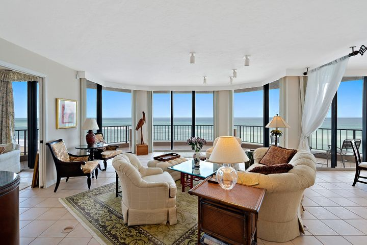 Undeniably the most sought after exclusive 53 unit condominium in the heart of Juno Beach, FL! This Direct Ocean Front unit 903 prize offers soaring ocean views from nearly every point in the unit! Located on the northeast corner, this unit features 500 sq ft of balcony, with 2500 living sq ft and its own private elevator entrance. The 03 stack is the most desirable stack in the Beachfront that doesn't hit the market often. It's a finacially sound building and a well maintained. Brand new installed hurricane shutters with a 10 year warranty. Pickle Ball, Tennis and much more. Make sure you come see this beautiful gem!