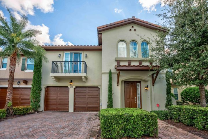 STUNNING 3 BEDROOM/2.5 BATH/2 CG TOWNHOME IN VILLA DIAMANTE, LOCATED IN THE HEART OF JUPITER.  BUILT IN 2015,  THIS IS A FORMER BUILDER'S MODEL WITH OVER $62,000 WORTH OF OPTIONS.  THE GOURMET KITCHEN FEATURES UPGRADED ALABASTER CABINETS WITH DOVETAIL SOFT CLOSE DRAWERS, GRANITE COUNTERTOPS, STAINLESS STEEL APPLIANCES AND A DOUBLE OVEN.  THE SPACIOUS MASTER SUITE IS ON THE FIRST FLOOR AND HAS TWO CLOSETS, INCLUDING A WALK IN, AND A LUXURIOUS MASTER BATH.  THE OTHER TWO BEDROOMS ARE UPSTAIRS  AND SHARE A JACK AND JILL BATHROOM. ALSO UPSTAIRS IS A COZY LOFT THAT IS A GREAT SPOT FOR A HOME OFFICE OR FOR GUESTS TO WATCH TV.  TRIPLE HURRICANE SLIDERS LEAD OUT TO YOUR PRIVATE BACKYARD WITH AN EXTENDED PAVER  PATIO,  WHICH IS A GREAT SPOT TO ENTERTAIN AND ENJOY THE SOUTH FLORIDA LIFESTYLE. ADDITIONAL UPGRADES INCLUDE BEAUTIFUL TRIM WORK THROUGHOUT THE HOME, PLANTATION SHUTTERS,  WOOD FLOORS ON THE STAIRS AND UPSTAIRS LOFT, ADDITIONAL LIGHTING AND MUCH MORE!!  VILLA DIAMANTE IS SMALL, LUXURY TOWNHOUSE COMMUNITY OF ONLY 20 HOMES AND IS LOCATED ONLY MINUTES TO WORLD CLASS GOLF COURSES, DINING, SHOPPING AND NIGHTLIFE.  SOME OF SOUTH FLORIDA'S BEST BEACHES ARE A BIKE RIDE AWAY AND PBIA IS 25 MINUTES AWAY.  TRULY A GREAT PROPERTY IN A GREAT LOCATION.