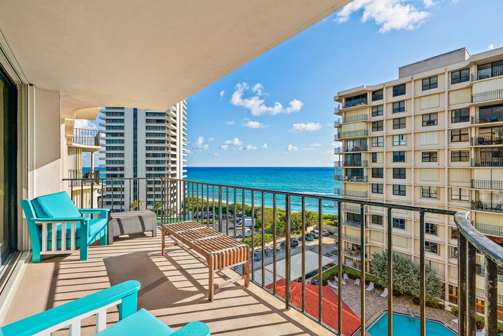 2 BEDROOM + DEN OCEANFRONT CONDO with panoramic views surrounded by gorgeous blue & turquoise waters! This light and bright SE corner residence has been completely updated with crown molding, new impact glass windows and slider doors, power blinds, wood tile floors throughout, updated kitchen & baths with stainless steel appliances, granite counter-tops, master-bath dual vanities, walk-in shower, pocket doors on den so it may easily convert into third sleeping area. Relax watching the boats cruise by while enjoying dining & drinks on your balcony! This property boasts some of the best views on Singer Island! See Supplemental... Dunes Towers is the second development from the north end of Singer Island for easy access to John D. Macarthur State Park, PGA Corridor, Gardens Mall, and other fine restaurants and shops in Northern Palm Beach County. Minutes to Palm Beach International Airport. WASHER and DRYER located on each Floor. 4 units per Floor.