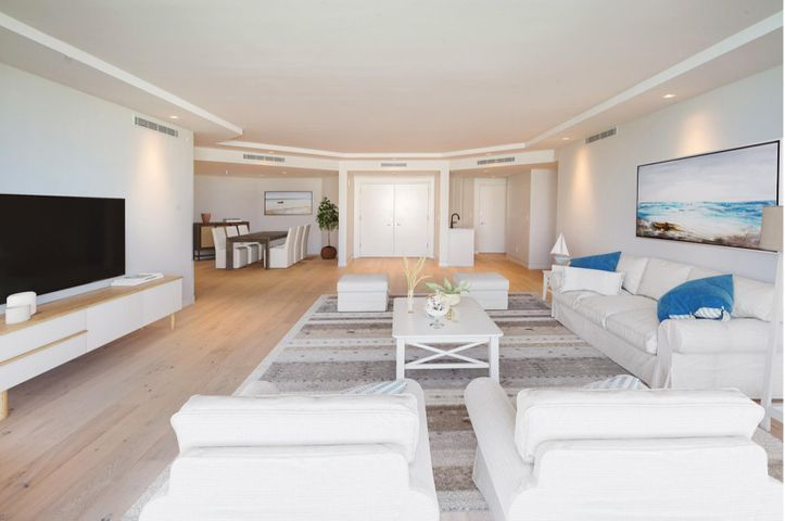 Fantastic opportunity to purchase beautifully renovated 3 bedroom, 3 bathroom 3200+/- condo with ocean and lake views in the newly renovated and sought after full service Palm Beach Hampton. With only 81 units on 800+/- feet of oceanfront, live in your own private resort.