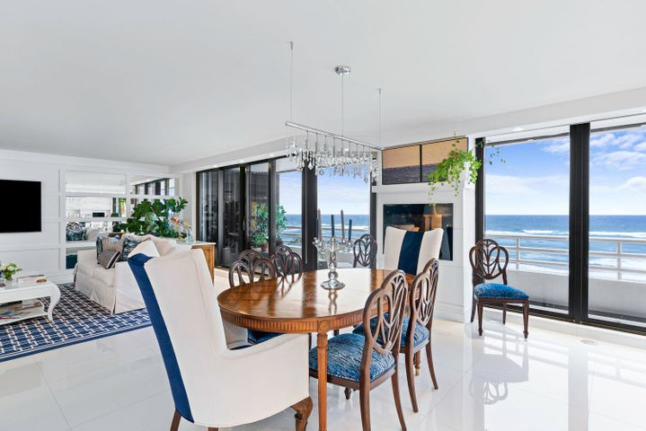 This spacious and beautifully updated 3BR/3.5BA unit is located in the North building of the prestigious Addison.This offering features captivating panoramic oceanfront views of the Atlantic Ocean from the living room and kitchen. The remodel was done with close attention to detail, including the finest fixtures. The living and dining rooms are equipped with sliding impact glass, opening to a large oceanfront balcony. The custom kitchen has a large, open island and beautiful, hand-crafted cabinetry along with Thermador appliances. The luxurious master bath is outfitted with a spa and steam shower. This full service building features resort-style amenities: concierge; valet; 24-hour gated security; 2 oceanfront pools with cabana bar; state of the art fitness center and more.