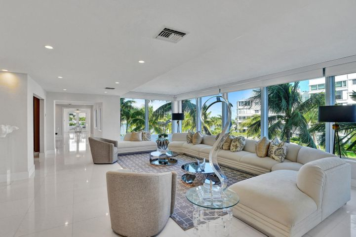 This Stunning 3700+/- SF Apartment, was Originally 3 Separate Apartments that were Combined and Reconfigured into this Glorious Residence. This Exceptional Offering Includes a Prime Poolside Cabana and 4 Parking Spaces. The Stunning Living Room is Spacious and Elegant and its Raised Ceiling Highlights this Dramatic Space. Crisp White Thassos Marble Floors and Pale Grey Silk Wallcoverings afford a Rich Neutral Palette. The Rich Materials and Textures are the Perfect Backdrop for any Decor. 3 Ensuite Bedrooms and 4 1/2 Baths include a Palatial Master Suite with His/Her Baths and Copious Closet Space. A Spacious Den and Grand Formal Dining Room Adjoin the Living Room. Custom Chef's Kitchen, Breakfast Room, Laundry and Storage Rooms, and a Small Balcony complete this One-of-a-Kind Offering.