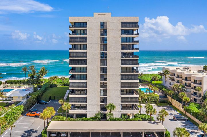 Fantastic opportunity to live in the Juno Ocean Club. This 2 bedroom 2 bath split floorplan condo offering pool and ocean views. Only steps away from the oceanfront gazebo and, of course, the beach!! Wake up to the sunrise with warm breezes and ocean views. Access the balcony from the living room as well as both bedrooms. New HVAC 2020, new accordion shutters in 2019, and new carpet in bedrooms 2020. Located in the quaint town of Juno Beach where you can enjoy walks along the beach, biking, jogging, and a multitude of restaurant options.