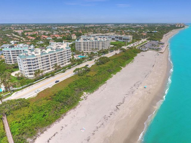 Your tropical oasis awaits. Live in paradise when you purchase this 3 bedroom, 2.5 bath, oceanfront, penthouse condo.  Light and bright with amazing turquoise ocean views. Tile and crown molding throughout the living area.  Open kitchen with stainless steel appliances and cream marble countertops. One of the most beautiful and well maintained buildings in Jupiter. Pet friendly building and beach. Offered furnished.Amenities include a 24-hour manned gated entrance, resort style pool and spa, fitness center, club room, billiard room, tennis courts, card room, 2 covered garage spaces, and multiple storage areas. Large dogs welcome. Close to fine dining and shopping.