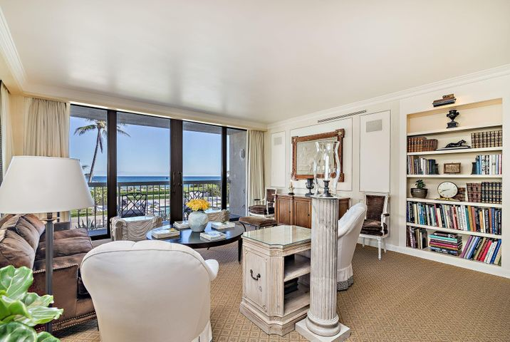 A rare opportunity to own an elegant & direct-ocean apartment in the desirable pet-friendly Dorchester (2 pets, 25 lbs. each).  This sophisticated corner apartment with beautiful ocean views & soothing ocean sounds includes a welcoming entryway into an extensive living & dining area with lovely faux finish painted panels. A wonderfully spacious area & setting for entertaining & enjoying the Palm Beach lifestyle. The ''eat-in'' kitchen features a stunning ocean view, attractive cabinetry & countertops, a Bosch oven, Miele cooktop & dishwasher. The many features include an expansive master suite, a delightful en suite guest room with sweeping ocean views, a sizeable wrap-around terrace, marble & granite flooring in entryway, kitchen & baths, Sherle Wagner fixtures in powder room, impact sliding doors & windows, HVAC & hotwater < 3 yrs, full size washer/dryer.  The Dorchester features an extraordinary array of amenities including:  24-hour concierge, full-time manager, tennis, heated pool, hot tub, social room with a fully equipped kitchen, an attractive & recently updated gym/fitness room, updated his & her cabana baths with saunas, beach chairs & umbrellas set-up daily, a fenced play area & dog walk, garage parking. The Dorchester is in an area known for its art, culture & luxury living and is just a short drive from nightlife, restaurants, golf, parks, theatre, exclusive shopping & the Palm Beach International Airport. The permanent sunshine and gorgeous scenery make the Palm Beaches a truly idyllic place to live.