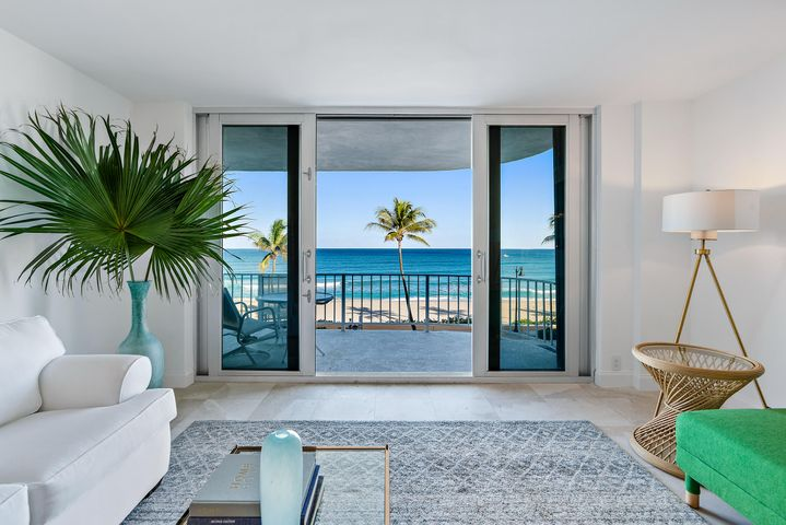 What could be more iconic than an oceanfront apartment on Worth Avenue!  This 2 bedroom 2 bath fully renovated unit has it all.  Direct ocean views from both bedrooms, living room, and dining room!  Gorgeous and spacious balcony plus private balcony off guest room. You will also find an open floor plan, high end finishes, and all within walking distance of fabulous in town Palm Beach!!