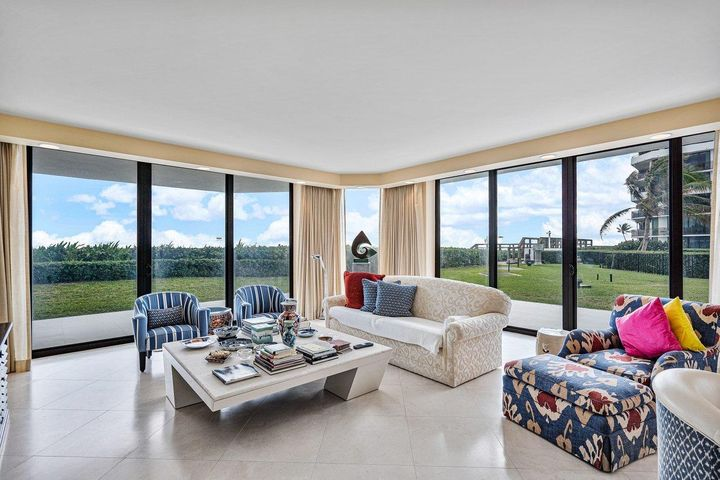 Located on the lobby level, this beautiful and spacious 2 bedroom - 2.5 bath SE Corner residence lives like a Beach House. It has direct access to the pool and beach and an oversized lanai terrace. Inside there are 8'10'' ceilings, and open kitchen with Downsview cabinetry, gorgeous limestone floors and custom baths with Downsview cabinetry and built-in closets. The Palm Beach Hampton is a Pet Friendly, Full Service Building with 24/7 Doormen & Gatehouse, 2 Garage Spaces , Tennis and the best Fitness Center around. With 800 feet of oceanfront, the Hampton is one of the most elegant oceanfront condominiums on South Ocean Blvd. The building and the public spaces have been completely renovated by one of the areas top designers and the Seller has paid their Special Assessment in full.