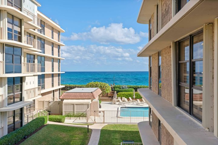 Amazing opportunity to own a rare 3 Bedroom, 3 full Bath condo on Palm Beach. Wake up everyday and admire the breathtaking Ocean and Intracoastal views.  This condo is in immaculate condition and went through an extensive renovation. 2 Large balconies off the master bedroom and the kitchen/dining area. Fully renovated bathrooms with custom tile and jacuzzi tub in master bathroom. Ceramic tile in the main floors, as well as a very nice porcelain tile in the kitchen. Spacious layout and a beautifully upgraded kitchen with Newer Samsung appliances as well as a a newer A.C unit. Steps to your own private beach and a very short distance to some of Palm Beach Island's most pristine dining, shopping, entertainment, and all of this within minutes to Palm Beach International Airport. Newer water tank- 4 years old. Fully upgraded 1 assigned parking space. Beautifully kept grounds throughout 3200. Upgraded stackable washer/dryer in unit.