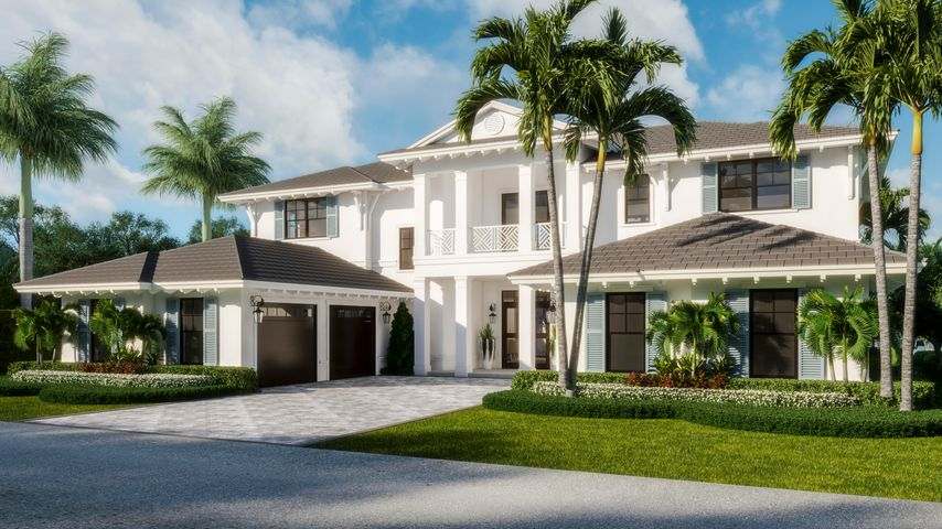 Waterfront New Construction-5BR plus an Office,6.5 bathrooms,3CG CBS home built with the finest and most Luxurious finishes(Floor Plans Attached).90' of water frontage on a deep wide water canal with turning basin. 45' Trex dock with 16klb lift. Ocean access with no fixed bridges-only minutes to the Palm Beach Inlet. Abundant living space including great room, family room, formal dining room and dual master suites. Heated pool/spa and large outdoor living area. A dream gourmet kitchen offers a Wolf 6 burner sealed Gas stainless steel cooktop, Wolf stainless steel 30'' built in double convection ovens, SubZero 48'' fridge/freezer and dual Bosch dishwashers and a spacious pantry. The kitchen features hand-made custom cabinets with a large island. This home offers a grand entrance with double mahogany style doors & marble floors and beautiful staircase opening to the great room. Several rooms feature beautiful ceiling details. The living areas on both floors are finished with high quality engineered wood floors. The home is being built with the best quality materials and workmanship including high impact hurricane windows and doors. There are large sliding doors in all the rooms facing the water letting in lots of natural light and giving a beautiful view of the pool, the water and your boat. The house is perfect for entertaining with a wonderful flow from the indoors to the outdoors.  The downstairs master suite includes oversized his & her closets, a spacious bathroom with a built-in dressing table, dual shower, soaking tub, and separate toilet rooms all finished in the highest quality marble and quartz. The upstairs boasts a spacious master suite with a large deck overlooking the pool and the water. Three additional upstairs bedrooms are all ensuites with luxury finishes and large walk-in closets. Two of the bedrooms and the office also open out to the large deck. There is a day kitchen with sink and refrigerator in the gallery.  Additional features include an oversized veranda complete with cabana bath and summer kitchen. This home is architect designed and has a West Indies flare with many contemporary features and includes new lush tropical landscaping. Scheduled Completion Date January  2022 .The photos illustrated are virtually staged renderings along with photos of a prior project completed at 2389 Azure Cir palm Beach Gardens Fl 33410.