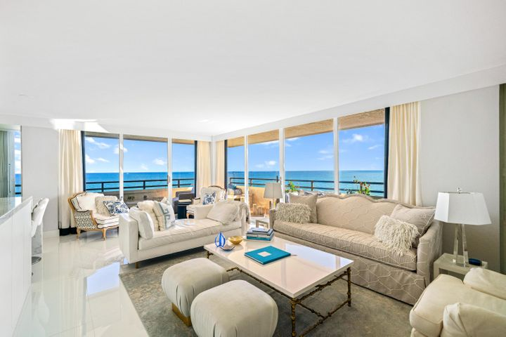 Direct oceanfront penthouse with panoramic ocean views from every room. Large wrap around ocean front balcony as well as additional balconies off bedrooms and kitchen. Extremely private to floor. Completely renovated and decorated by elite designer. All new top of the line appliances, marble and fixtures. Full size washer and dryer in unit. Building has two heated pools.