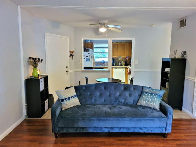 Location! Location! Location! Hurry! Beautiful & very spacious 2/2 apartment in Trails End Villas condominium community on N. Military just south of PGA Boulevard in Palm Beach Gardens. Zoned for the highly rated Timber Trace Elementary School. Prime location: conveniently located close to FL-TPK & I-95 for commuting everywhere. Community Pool, Club House on site. Fitness Center right across the street. Updated Kitchen, screened-in and covered  balcony w/Washer & Dryer on one end & extra storage on the other. Ocean, beaches, Palm Beach Gardens Mall, Downtown at the Gardens, Main Street at Midtown shops, and many more shops & restaurants within close driving distance. Also, nearby; the world famous PGA National Golf course & Resort. Small pets may be considered. Does not come furnished. Other nearby education facilities; Palm Beach State College(North), Barry University, Strayer University, Nova Southeastern University.