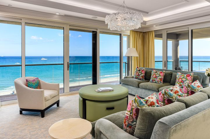 Rarely available 3 bedroom, 3.5 bath corner unit at Two North Breakers Row. Stunning direct ocean views from the living room, dining room and kitchen offering tranquil turquoise water as far as the eye can see. The 3,487 +/- square foot apartment has been meticulously renovated including floor-to-ceiling doors and windows facing the ocean, multiple balconies with glass railings. Each bedroom offers views of the Atlantic Ocean. The apartment comes with a poolside cabana offering a relaxing air-conditioned space with a full bath, small fridge, and a living space with sliding glass doors leading out to the pool terrace. The garage has 2 parking spaces. Two North Breakers Row is a full-service condominium. Includes Cabana C-27 PCN#50-43-43-23-25-003-0270.